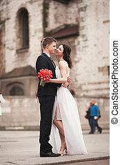 église, krakow, palefrenier, couple, mariée, mariage