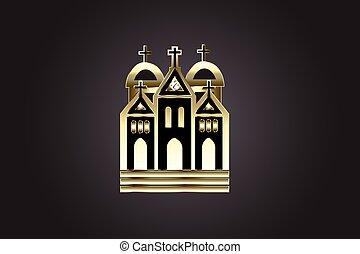 église, logo, icône, doré