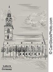église, marie, gris, rue., berlin