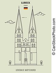 église, mary, germany., lutheran, lubeck, repère, icône, rue.