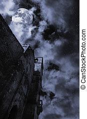 église, moyen-âge, nuit
