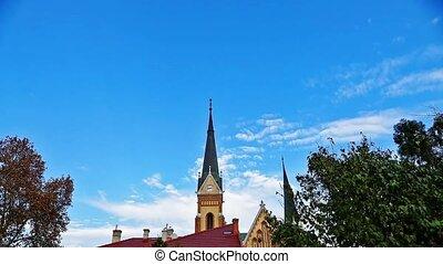 église, nuages, horloge, défaillance, timelapse, ciel, jeûne, temps