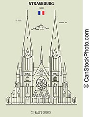 église, paul, icône, strasbourg, repère, france., rue.