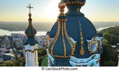 église, rue., morning., ukraine, andrew's, kyiv