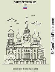 église, sanguine, repère, sauveur, russia., saint, icône, petersburg
