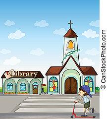église, scooter, gosse, bibliothèque, joggeurs