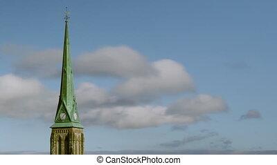 église, steeple., timelapse, clouds.