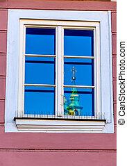 église, tour, reflété dans, a, fenêtre