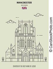 église, uk., repère, saint, manchester, nom, icône, jésus