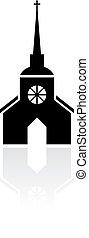 église, vecteur, vieux, signe