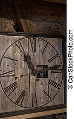 église, vendange, bois, moyen-âge, vieux, horloge