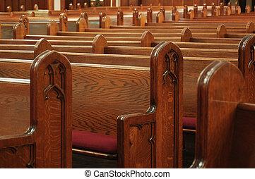 église, vide, bancs