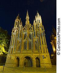 église, vilnius, lituanie, rue., anne