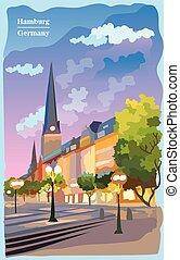 église, vue, coloré, hambourg