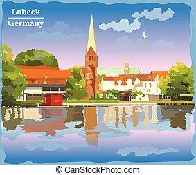 église, vue, lubeck, coloré