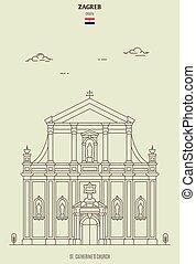 église, zagreb, catherine's, repère, rue., croatia., icône