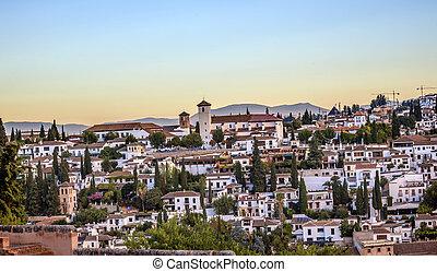 églises, andalousie, grenade, espagne, cityscape