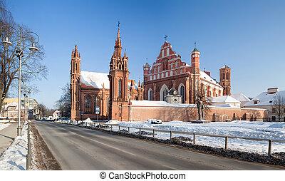 églises, anne, bernadine's, rue., vilnius
