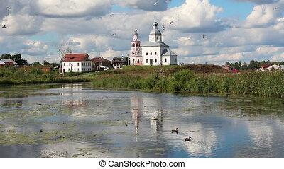églises, suzdal, russie, vue