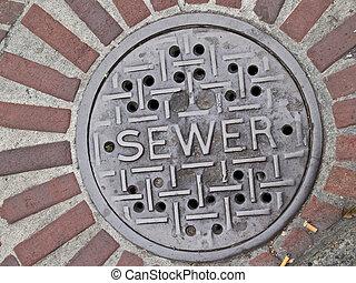 égout, lid., manhole