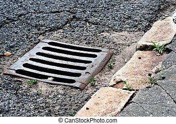 égout, route, drain