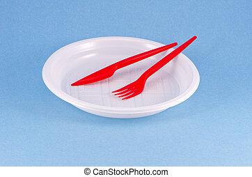 égszínkék, edények és evőeszközök, eldobható, háttér, műanyag