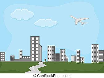 égvonal, város, -, karikatúra, háttér