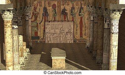 égyptien, ancien, temple, render, 3d