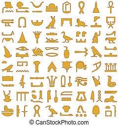 égyptien, hiéroglyphes, décor, 2, ensemble