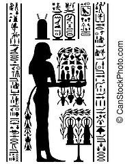 égyptien, hiéroglyphes, et, fresque