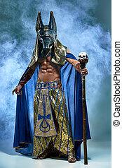 égyptien, masque, image, pharaon, ancien, figure, homme, sien