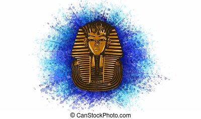 égyptien, masque, roi, animation, tutankhamen, mort