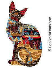 égyptien, motifs, chat