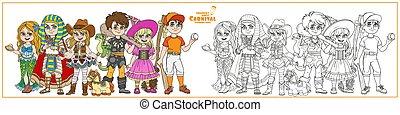 égyptien, sorcière, costumes, coloration, joueur, base-ball, homme cavernes, cowgirl, carnaval, couleur, page, esquissé, sirène, caractères, pharaon, enfants
