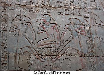 égyptien, soulagement, peinture