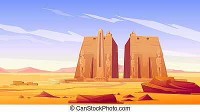 égyptien, statue, temple, ancien, obélisque