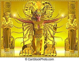 égyptien, temple., doré