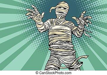 égyptien, vendange, film, horreur, halloween, momie