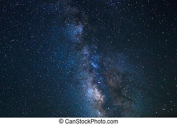 éjszaka ég, fényes, csillaggal díszít, és, milky el,...