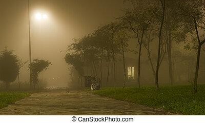 éjszaka, épület, whether, ködös, kicsi