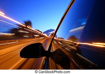 éjszaka, autózás