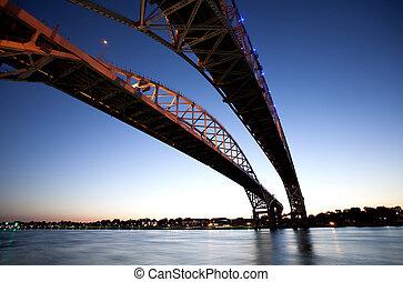 éjszaka, fénykép, blue víz, bridzs