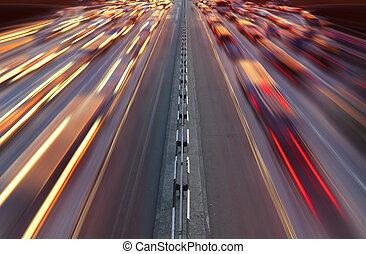 éjszaka, forgalom, autóút, idő