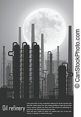 éjszaka, gáz refinery, olaj