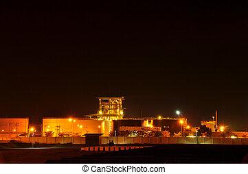 éjszaka, gyár, olaj