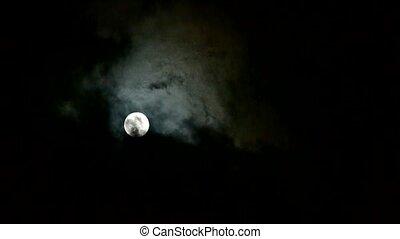 éjszaka, hold, át, lépés, tele, felhős