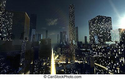 éjszaka in, modern, város