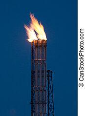 éjszaka, közben, égető, fellobbanás, gáz, olaj
