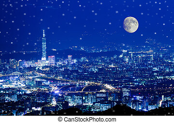 éjszaka, kilátás, közül, a, taipei, város, taiw