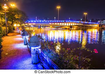 éjszaka, kilátás, közül, város, alatt, kaohsiung, -, taiwan
